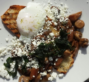 Forrest and Field Mushrooms, goat cheese, sage and a perfectly poached egg.